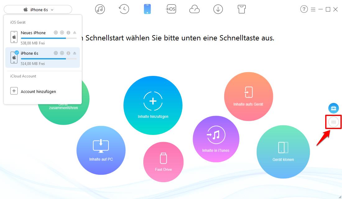 Musik von iPhone zu iPhone X/8/7(Plus) – Schritt 1
