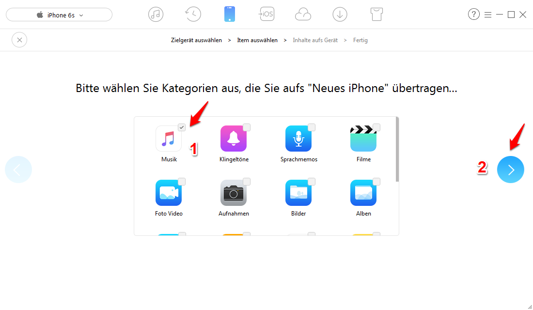 Musik von altem iPhone zu iPhone X/8/7 mit 1-Klick – Schritt 3
