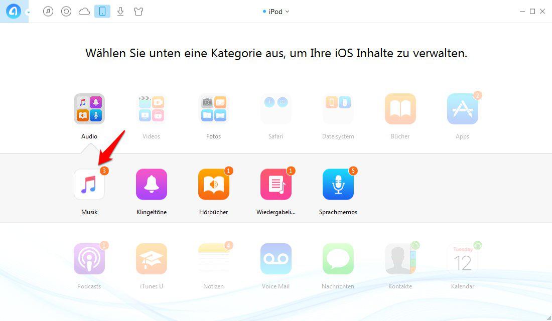 Musik vom iPod auf den iPhone 5c auf Mac kopieren – Schritt 3