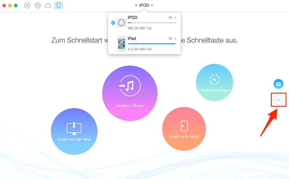 Musik vom iPod auf iPad direkt übertragen – Schritt 2