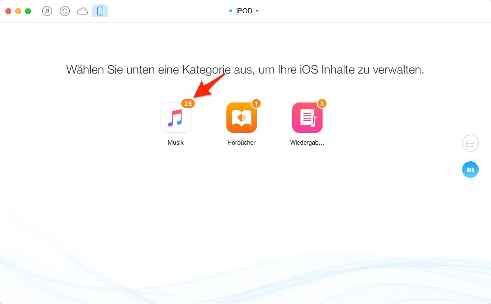 iPod Musik auf iPad mini kopieren – Schritt 3