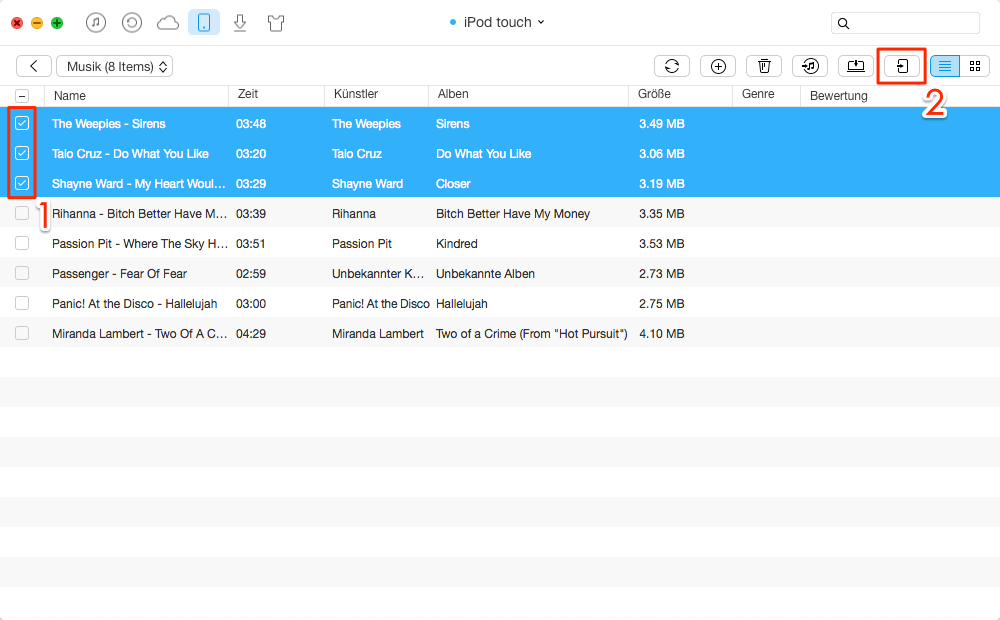 Direkt! Musik vom iPod auf iPad übertragen – Schritt 3