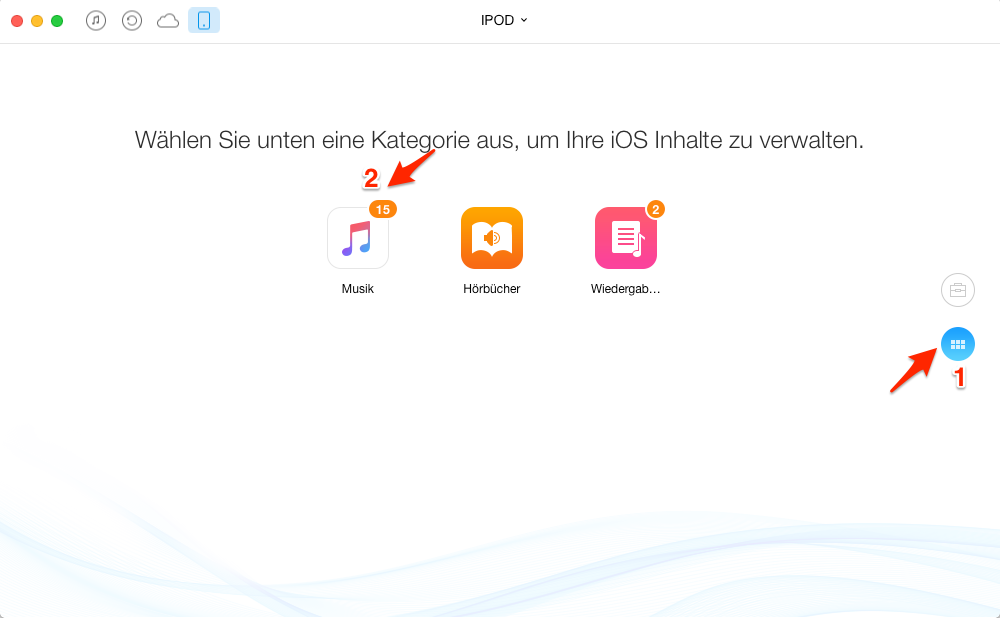 Musik vom iPod in iTunes importieren – Schritt 2