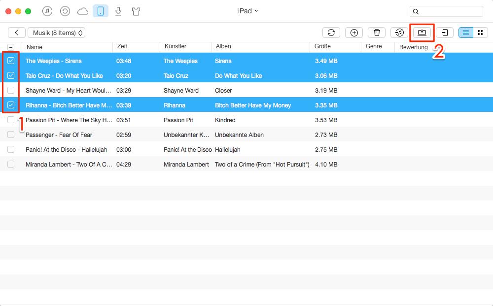 Musik vom iPod/iPad auf Computer übertragen – Schritt 3