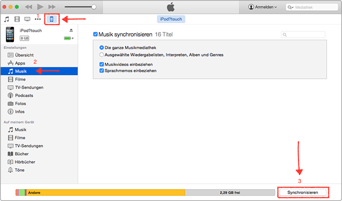 Musik vom iPod touch mit iTunes löschen