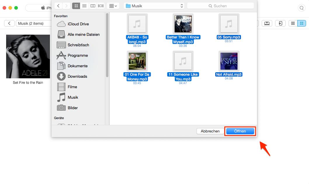 Lieder & Musik vom Laptop auf iPhone ohne iTunes - Schritt 3