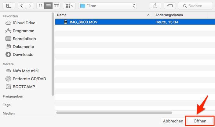 Videos vom Mac auf iPad übertragen – Schritt 3