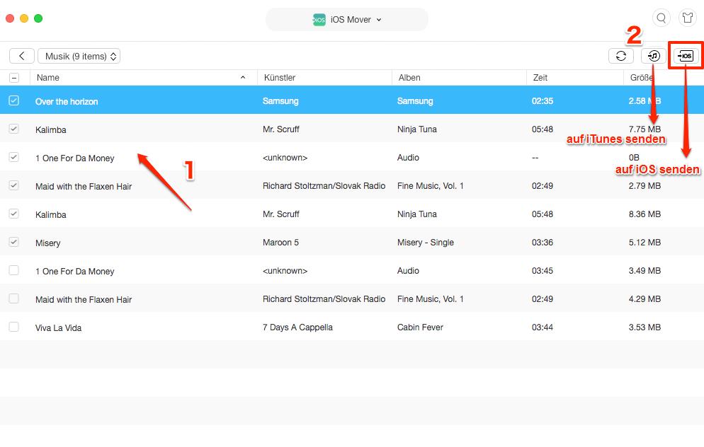 Musik von Android auf iPhone übertragen - Musik auswählen