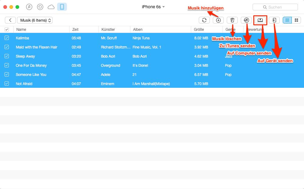 Musik vom iPhone 6/6s auf Mac – Schritt 4