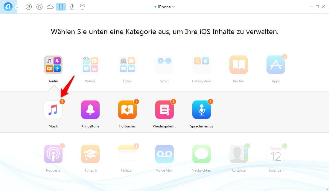 Musik von iPhone zu iPhone 6/6s übertragen – Sciritt 2