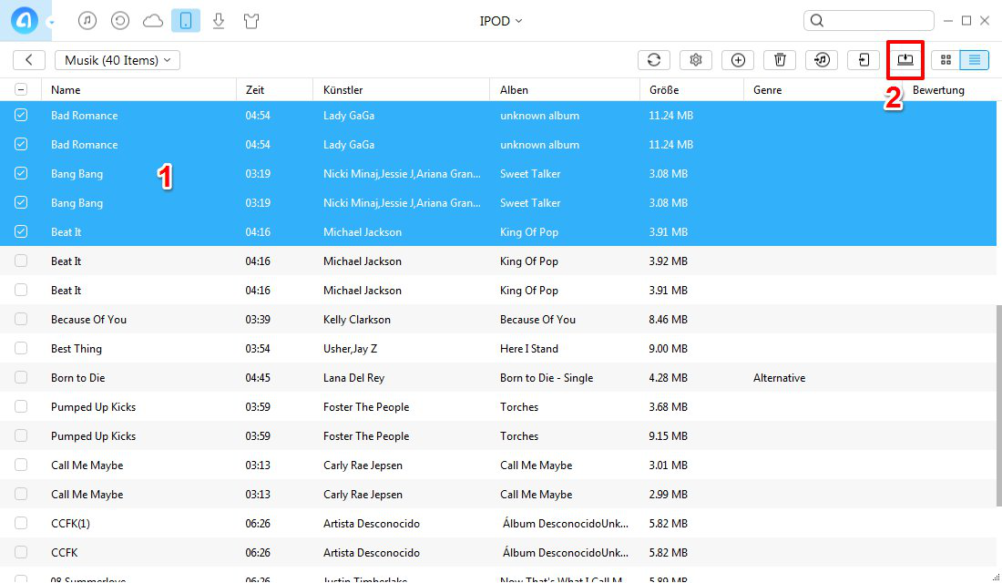 Musik von iPod auf PC – Schritt 2