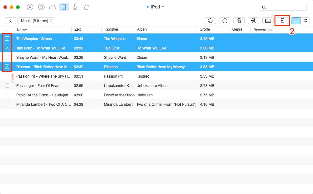 Direkt! Musik vom iPod auf iPod übertragen – Schritt 3