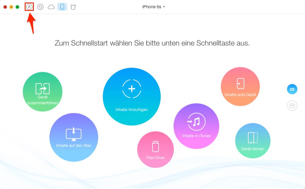 iTunes Musik auf iPhone 6s übertragen – Schritt 1