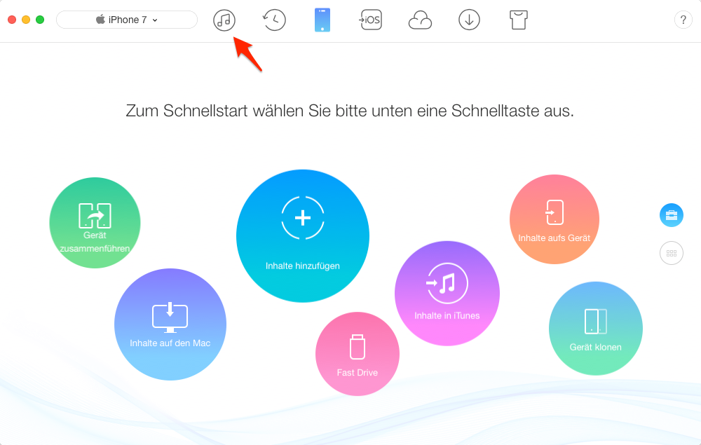 Musik von iTunes auf iPhone X/8 – Schritt 1