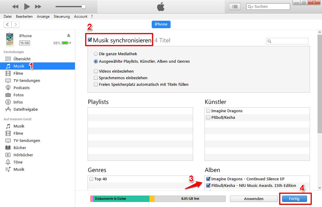 Musik von iTunes auf iPhone – Mit iTunes