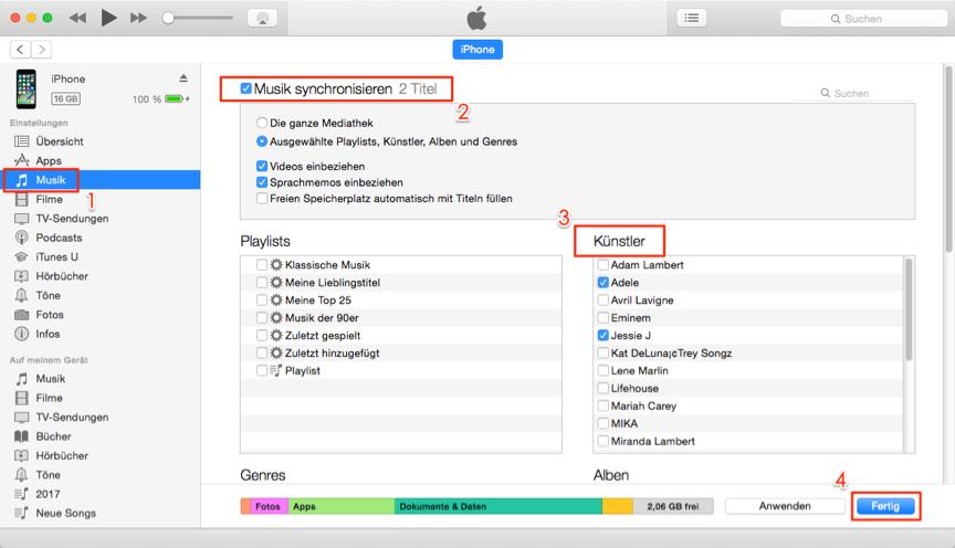 Musik von Mac auf iPhone über iTunes