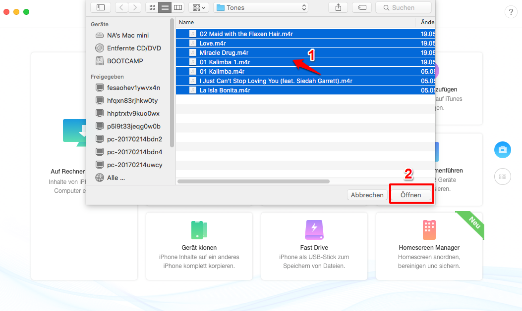 1-Klick! Musik vom Mac auf iPhone X/8/7/6/5/SE übertragen – Schritt 2