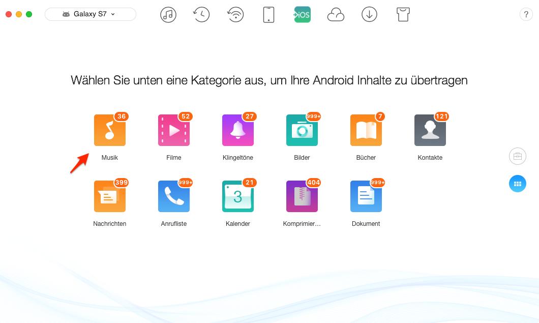 1-Klick! Musik von Samsung auf iPhone übertragen - Schritt 2