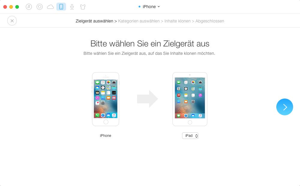 iPad auswählen und weiter übertragen – Schritt 2