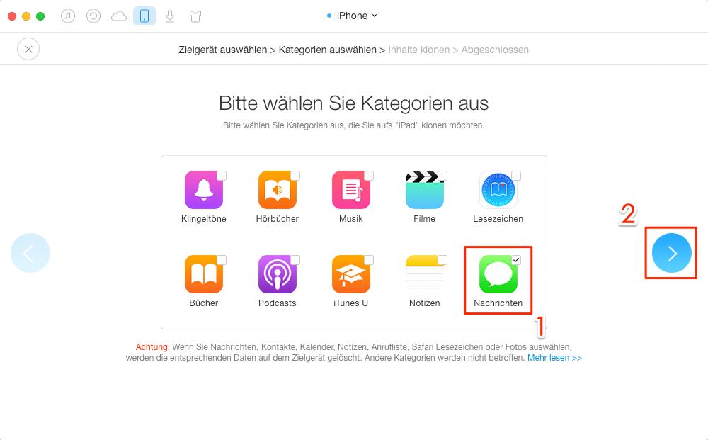 iPhone SMS auf iPad übertragen – Schritt 3