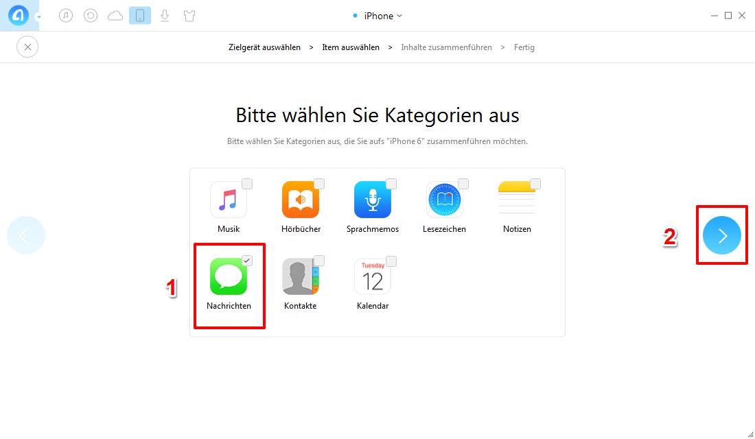 Nachrichten vom alten iPhone auf iPhone 6/6s – Schritt 4