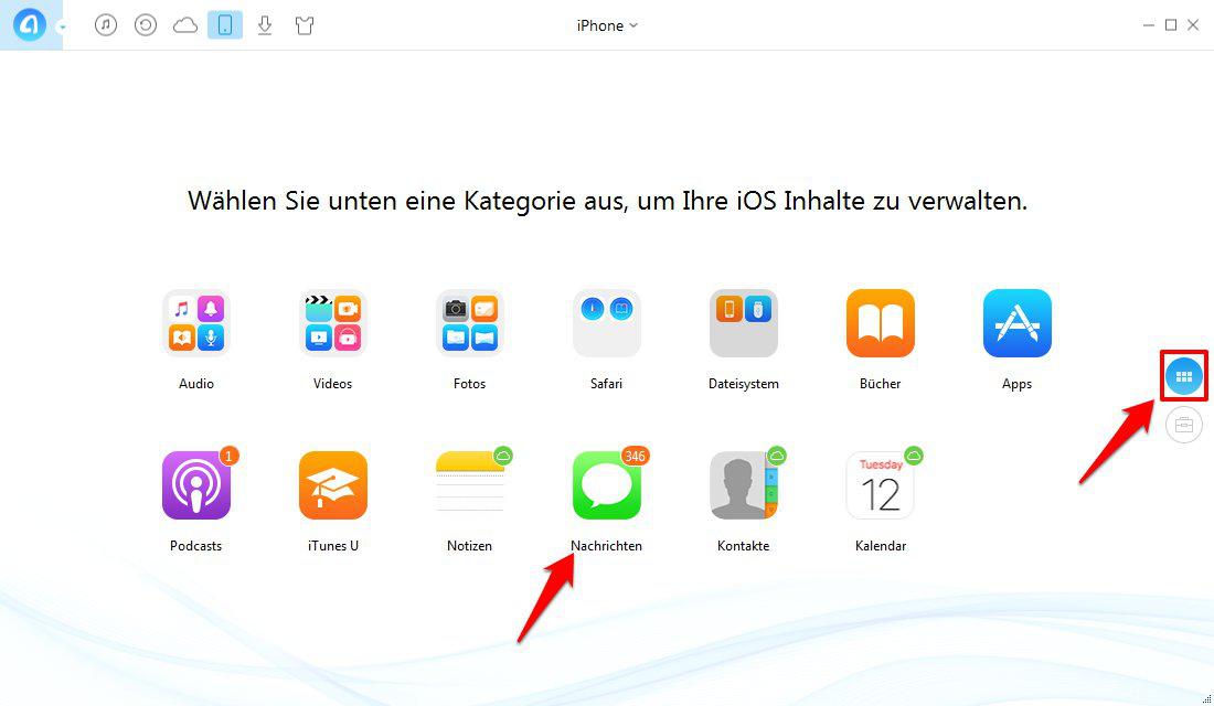Nachrichten von iPhone auf Mac – Schritt 1