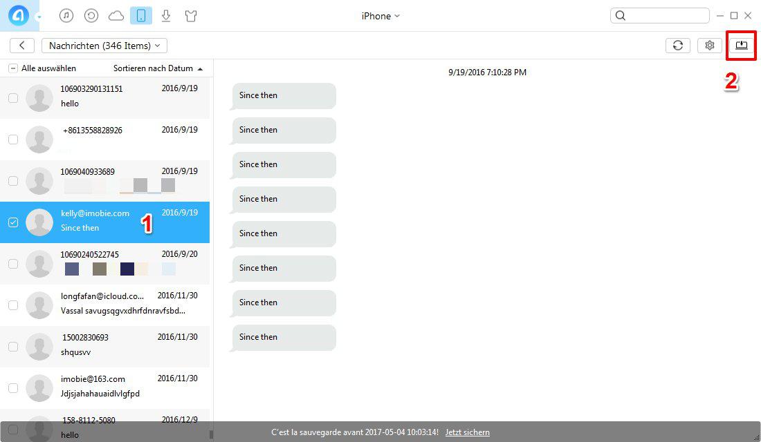 Nachrichten von iPhone auf Computer übertragen – Schritt 2