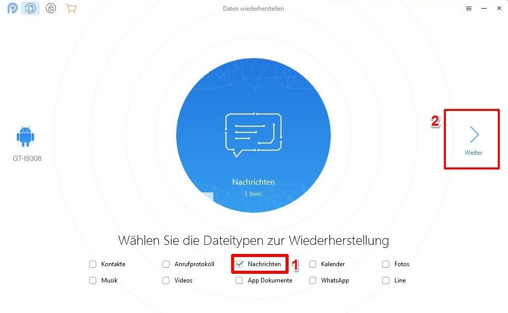 Nachrichten von Samsung Dateien auswählen – Schritt 3