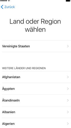 Land und Region auswählen: iPhone 7 & iPhone 7s einrichten