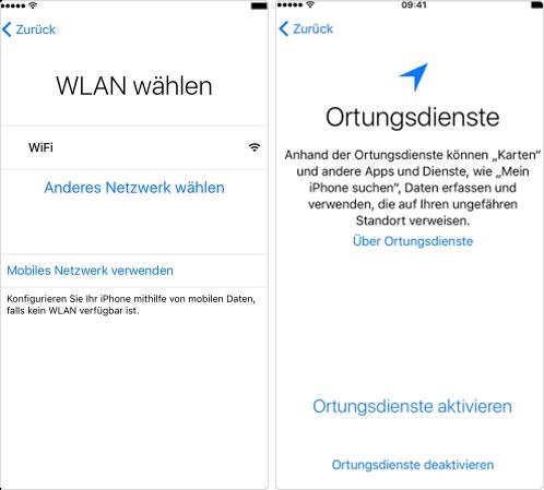 Neues iPhone einrichten - WLAN und Ortungsdienste für iPhone 7 (Plus) einrichten
