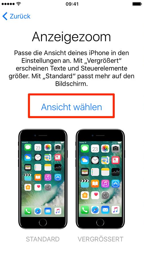 Anzeigemodus auswählen – neues iPhone 8 einrichten