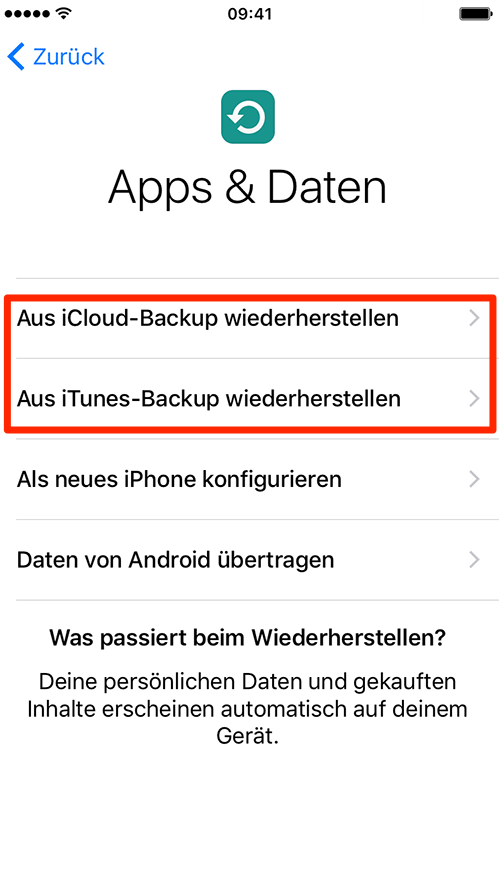 Daten aus Backup übertragen – iPhone einrichten