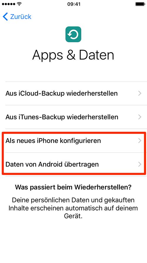 Daten auf iPhone übertragen – iPhone einrichten