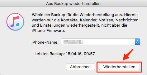 iphone aus backup wiederherstellen wird nicht angezeigt