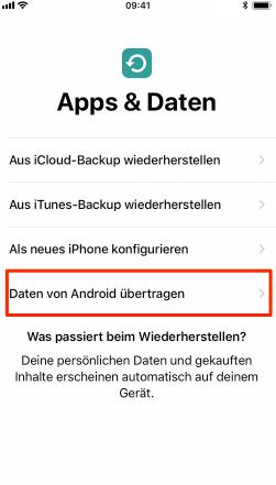 iphone xs daten von android