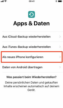 iPhone aktivieren – Als neues iPhone konfigurieren