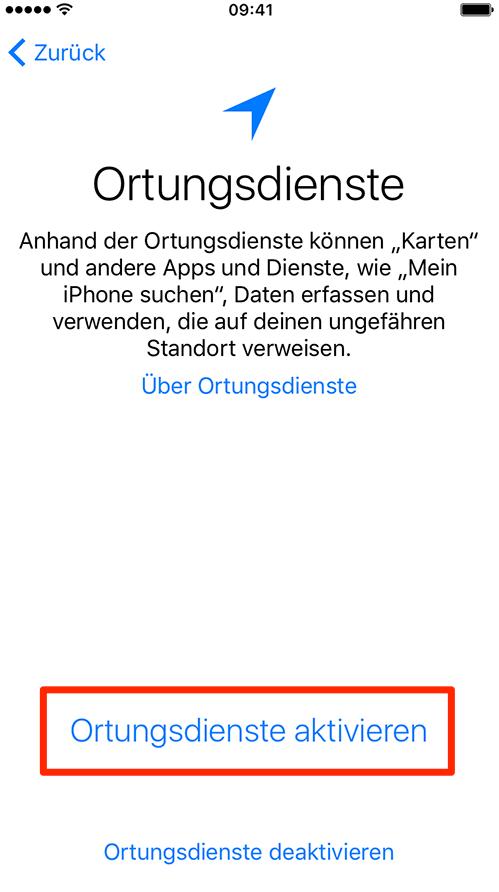 Ortungsdienste aktivieren – neues iPhone einrichten