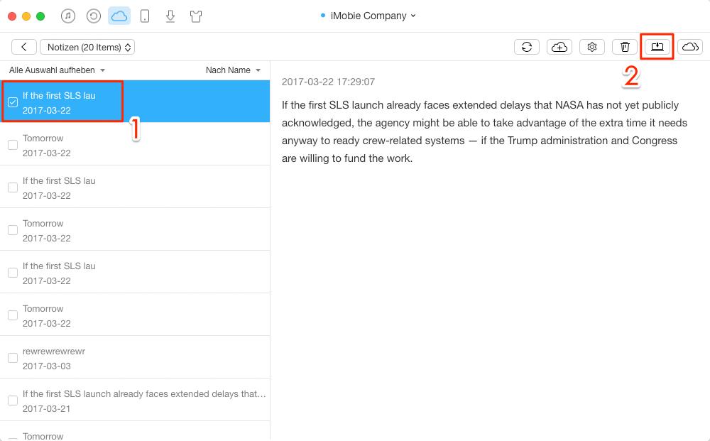 Notizen aus iCloud exportieren – Schritt 3