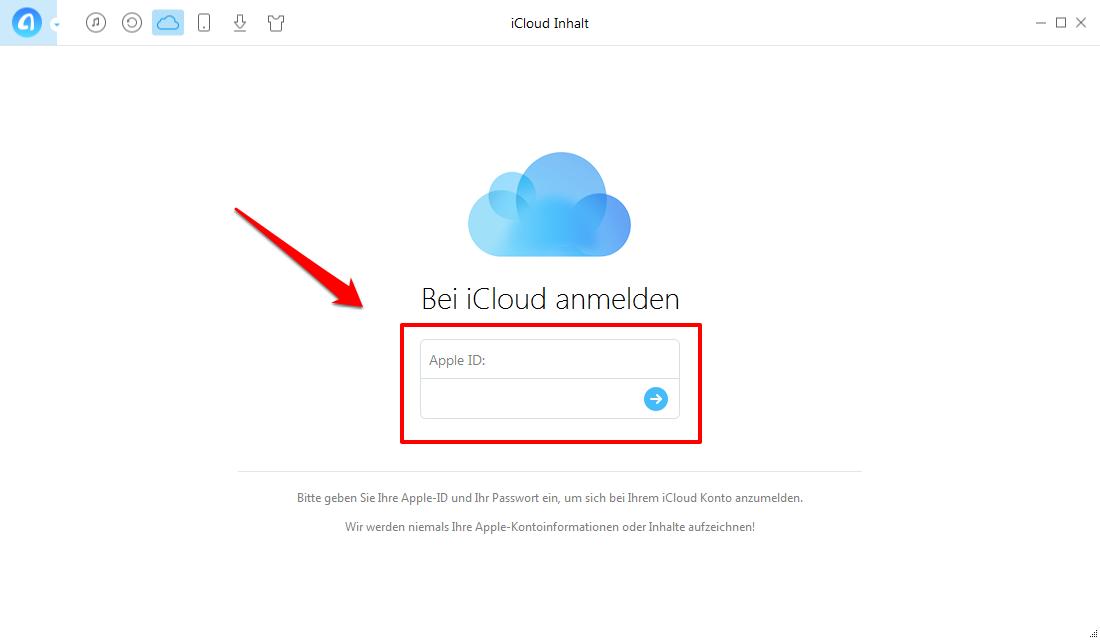 Notizen in iCloud mit AnyTrans verschieben – Schritt 2