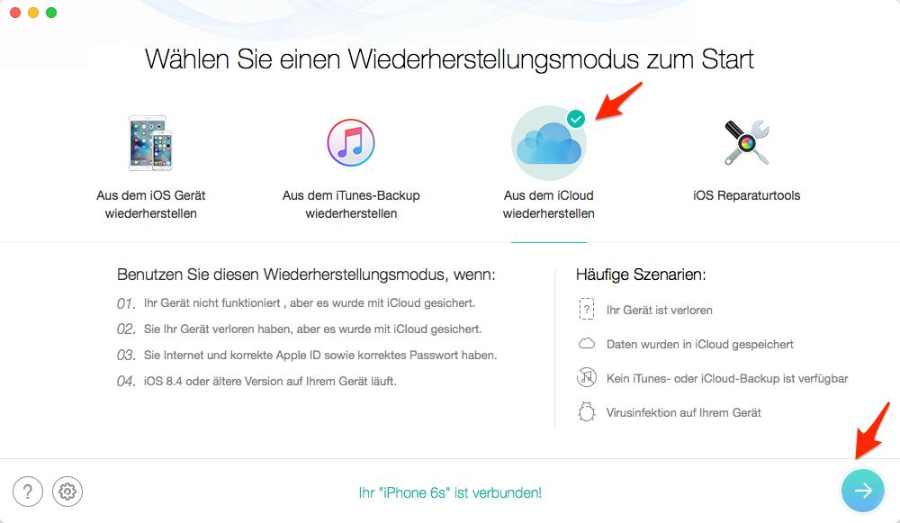 iPhone Notizen aus iCloud wiederherstellen – Schritt 1