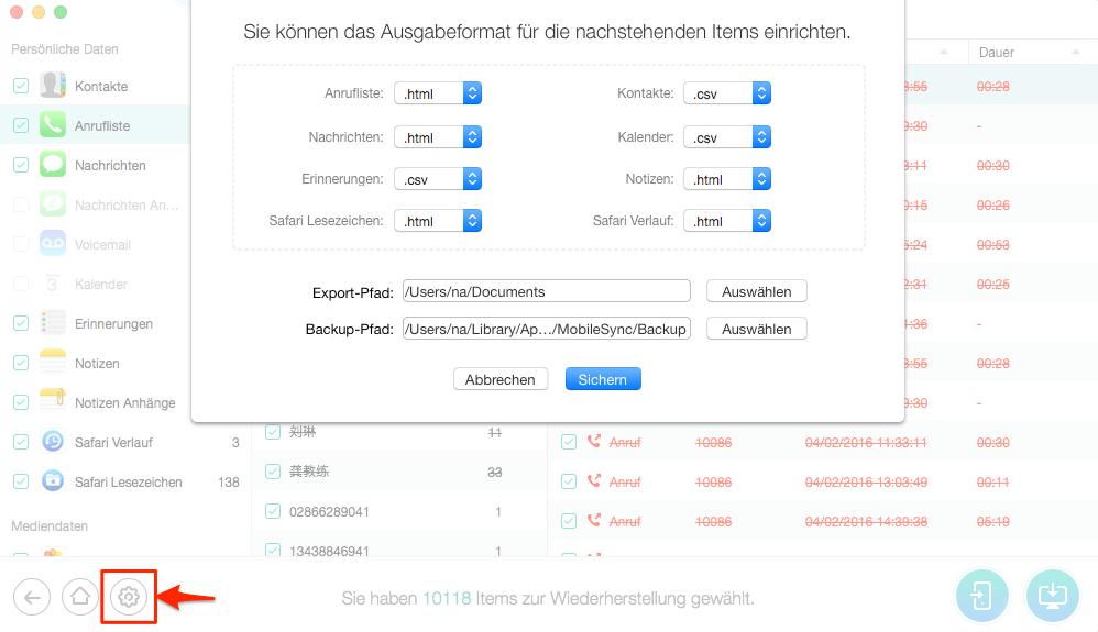 Format von Datei selbst auswählen