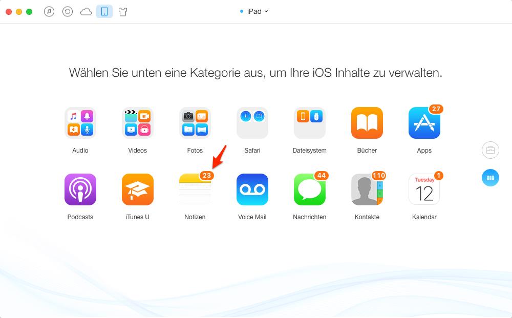 iPad Notizen mit iPhone synchronisieren – Schritt 2