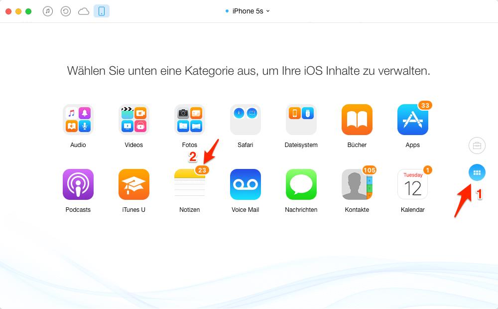 Notizen vom iPhone auf iPad – Schritt 4