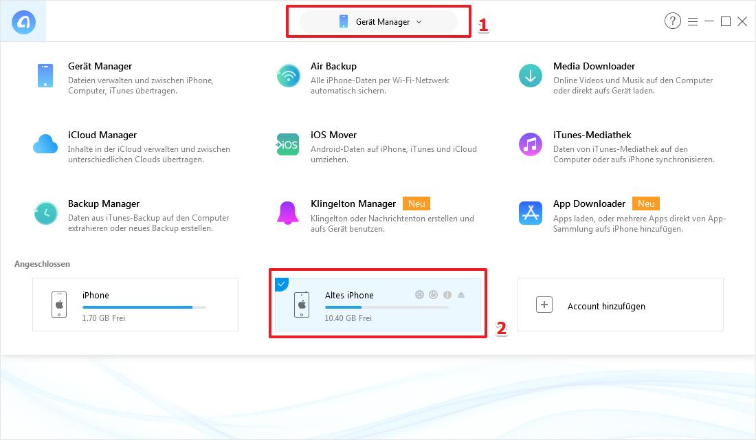 iPhone Notizen übertragen, ohne iTunes – Schritt 1