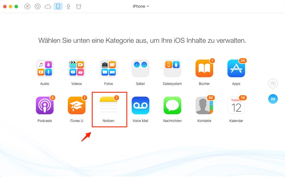Notizen vom iPhone auf Mac übertragen – Schritt 2