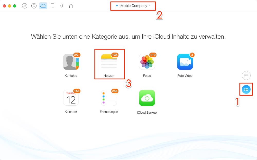 iCloud Account auswählen und Kontakte auswählen - Schritt 3