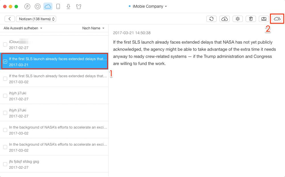 Notizen von iCloud auf anderen Account übertragen – Schritt 4