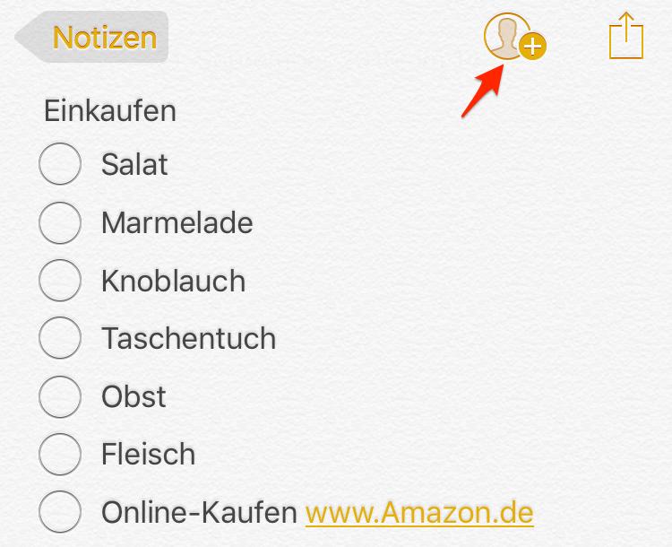 iCloud Notizen auf iOS-Gerät mit anderen teilen