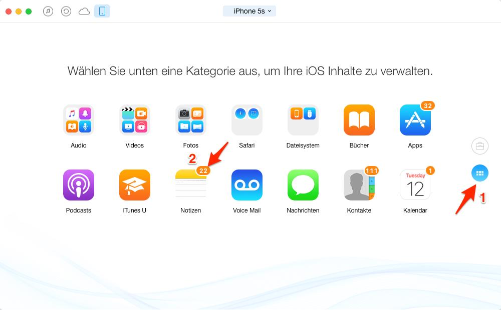 Notizen auf anderes iPhone übertragen – Schritt 2