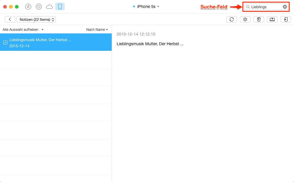 Notizen vom iPhone selektiv exportieren – Schritt 3